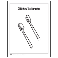 Drawing of old and new toothbrushes
