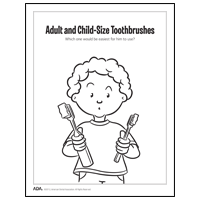 Drawing of boy holding different sized toothbrushes