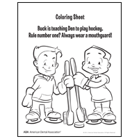 Coloring sheet with 2 children holding toothbrushes