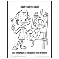Coloring sheet of a painter - Spanish