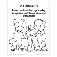Coloring sheet with 2 children holding toothbrushes - Spanish