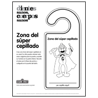 Doorknob hanger: Super Brushing Zone - Spanish