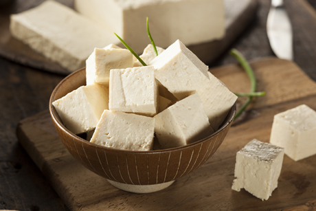 bowl of large tofu cubes