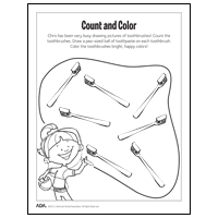 Toothbrush coloring sheet