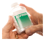 image of two hands holding a bottle of aspirin