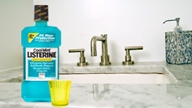 Bottle of Listerine on a counter
