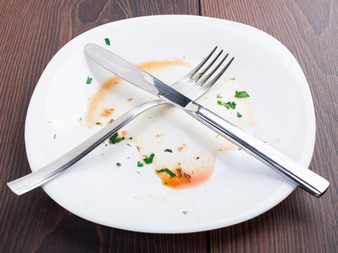 Empty plate of food and utensils