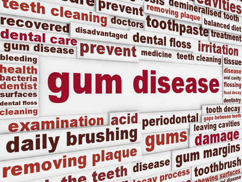 Lots of typed out letters spelling gum disease
