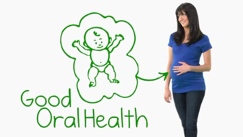 pregnant woman next to a drawing of a baby & good oral health-english