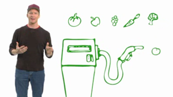 man next to a drawing of a gas pump and fruits and vegetables in the air