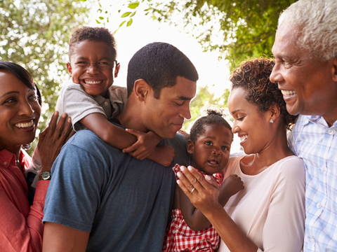 African American Family Together Outside