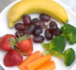 plate of healthy fruits and veggies