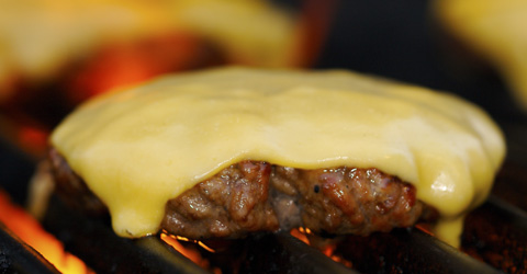 Cheeseburger on the grill