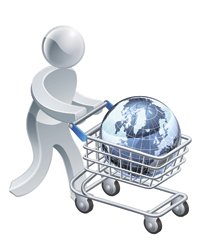 Image of figure with globe in shopping cart