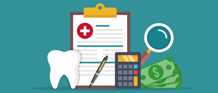 Dental benefits symbols including a tooth, clipboard, calculator and money.
