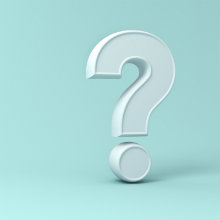 A white question mark on a light blue background