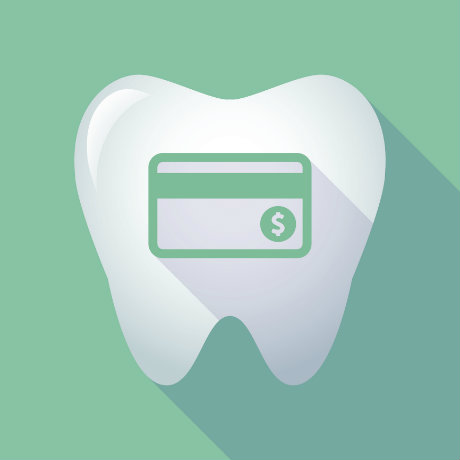 A tooth with a green credit card icon on a green background