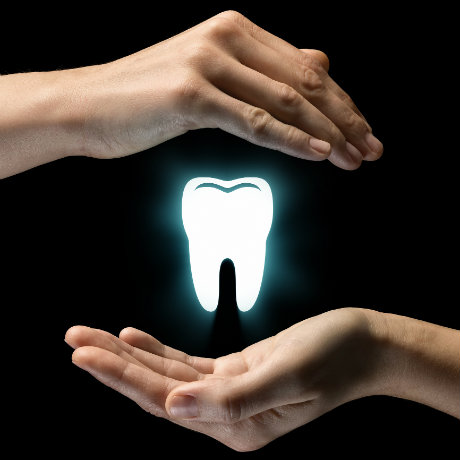 Two hands surrounding a tooth icon on a black background