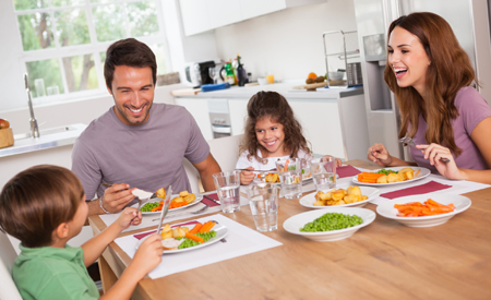 Family eating a healthy meal