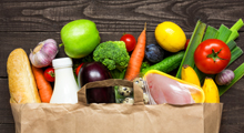 Healthy foods in a grocery bag