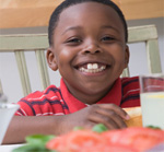 Child eating a healthy meal