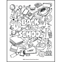 Back to School Coloring Sheet with School Supplies