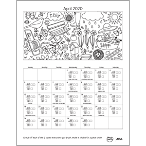MouthHealthy Brush Floss Calendar April 2020