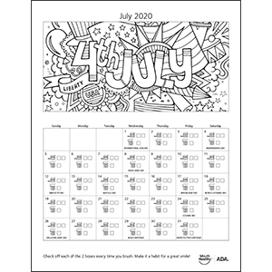 MouthHealthy Brush Floss Calendar July 2020