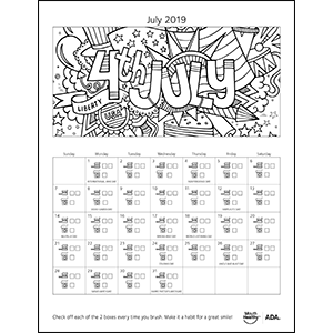July brushing calendar