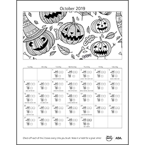 October brushing calendar