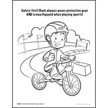 Mouthguard coloring sheet with boy on a bike