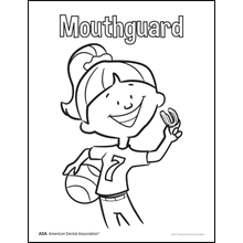 Girl holding a mouthguard coloring sheet