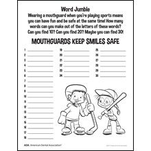 Mouthguard word jumble activity sheet
