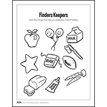 Color the healthy foods activity sheet