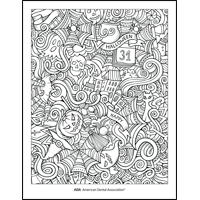 Happy Halloween coloring sheet from the ADA