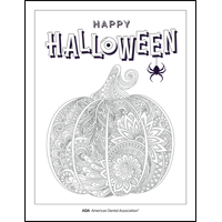 Happy Halloween pumpkin coloring sheet from the ADA