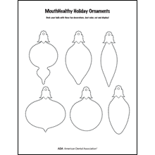 Decorate a tooth-themed ornament activity sheet