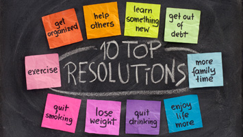 Post its with new years resolutions