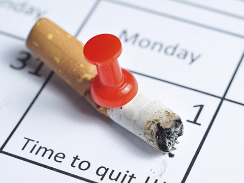 Cigarette on a calendar for quitting