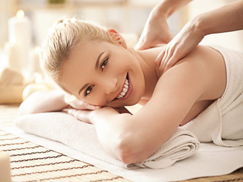 woman smiling and relaxing