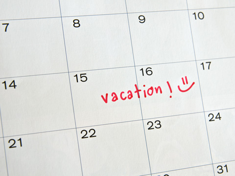 Vacation marked on a calendar
