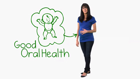 Pregnant woman discussing oral health