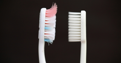 Old toothbrush and new toothbrush