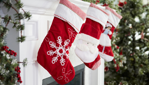 Stockings hanging on a mantel
