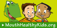 MouthHealthyKids.org two kids and dinosaur art